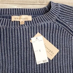 Philosophy Blue Wash Pullover Cotton Sweater